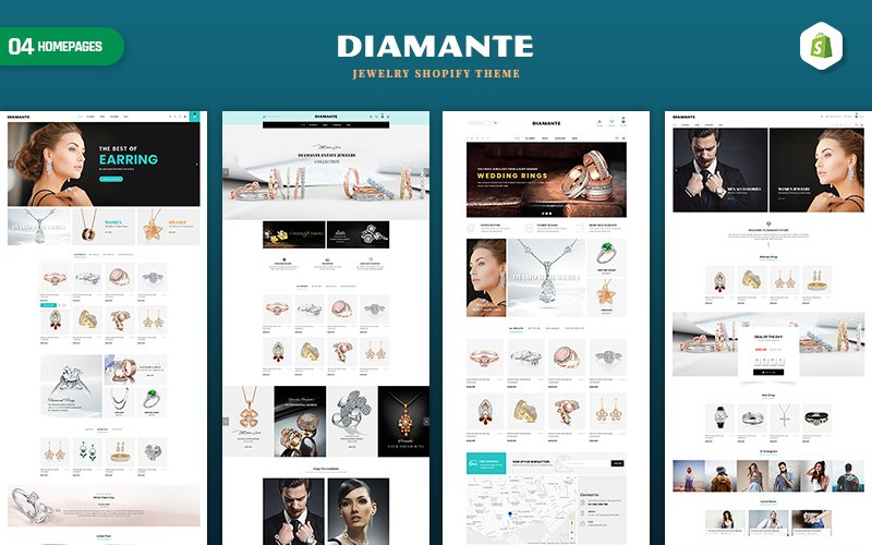 "Modello Shopify Responsive #159029 ""Diamante - Jewelry & Accessories"""