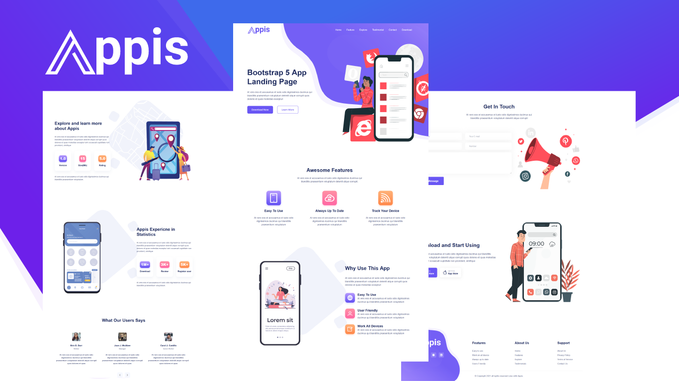 Responsivt Appis - Bootstrap 5 App Landing Page-mall #159023