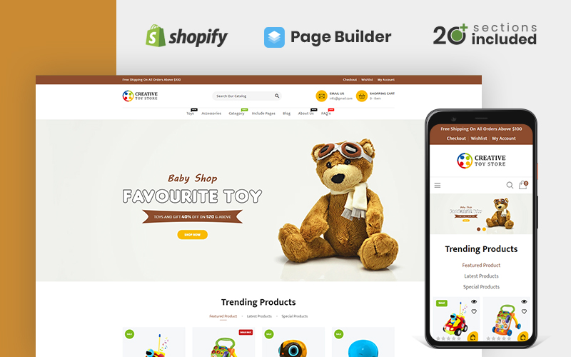 Responsivt Creative Toy Store Shopify-tema #159026
