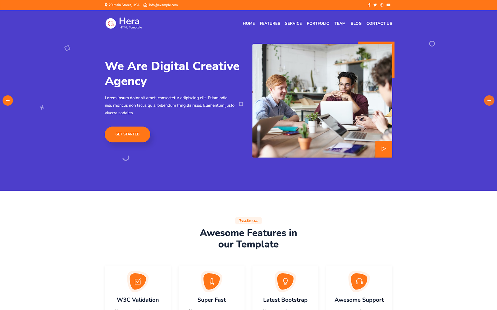 Responsivt Hera - Digital Agency One Page HTML Landing Page-mall #159024