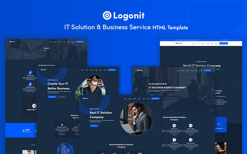 Responsivt Logonit -  IT Solution & Business Service Hemsidemall #159030