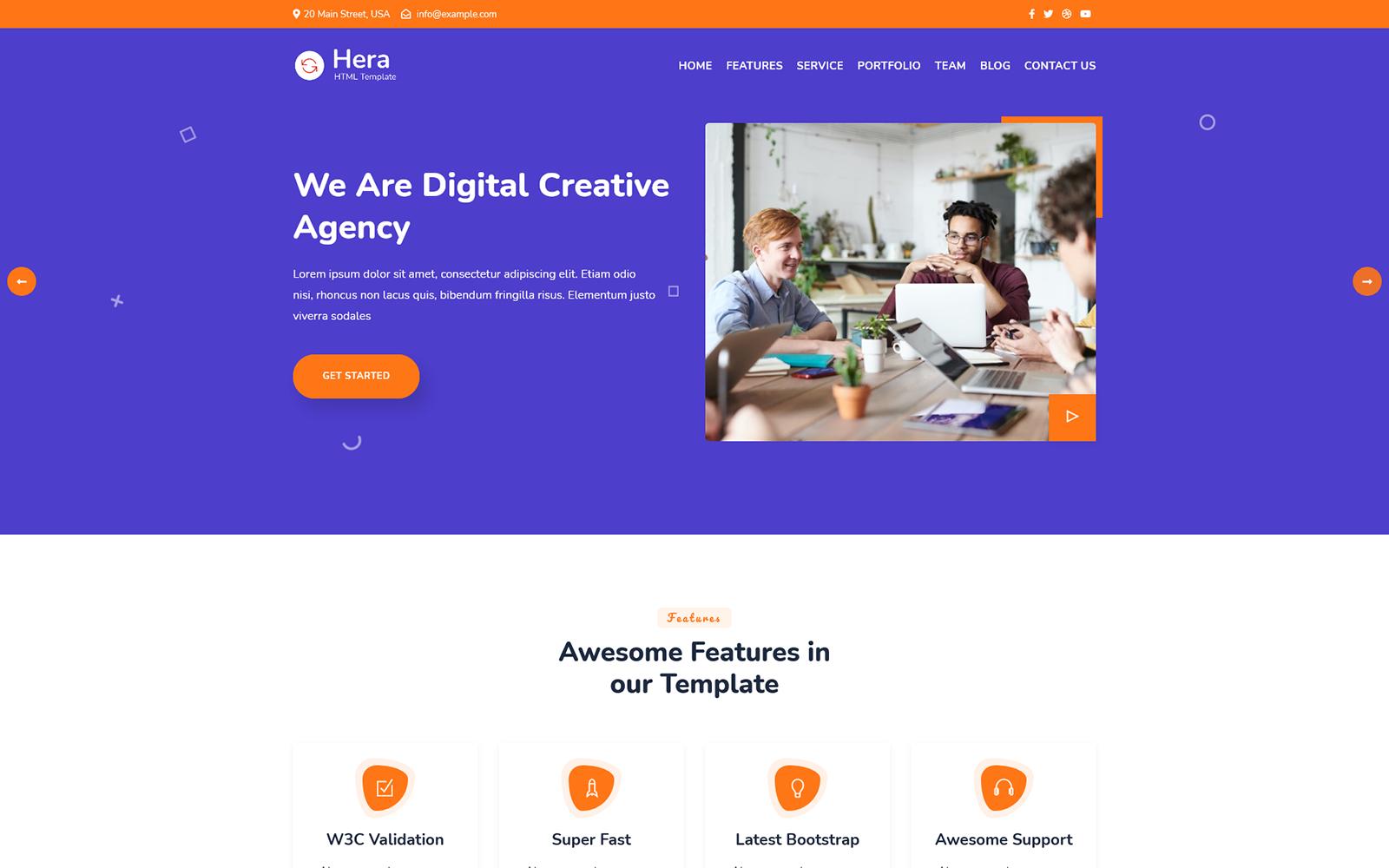 """Responzivní Šablona mikrostránek """"Hera - Digital Agency One Page HTML"""" #159024"""