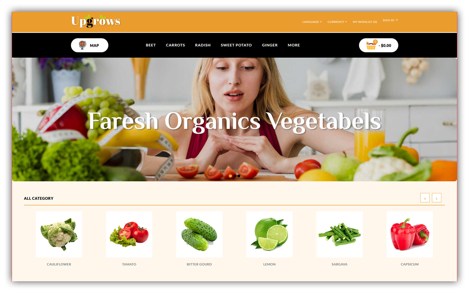 Upgrows - Organic Vegetables Store Template OpenCart №159027