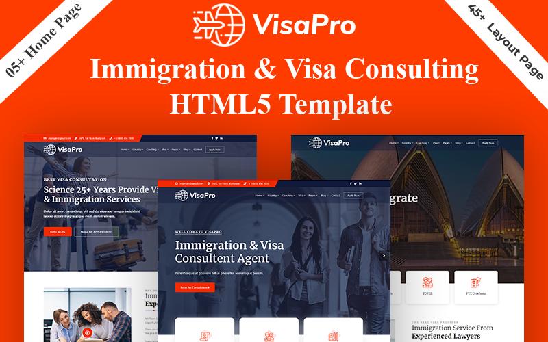 """VisaPro - Immigration & Visa Consulting"" Bootstrap网页模板 #159025"