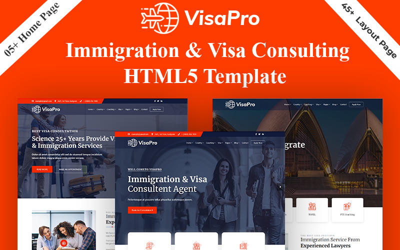 """""""VisaPro - Immigration & Visa Consulting"""" Bootstrap Website template №159025"""