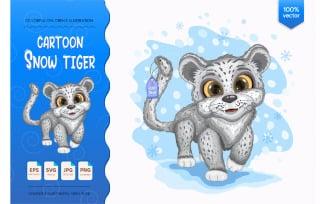 Cartoon Snow Tiger.