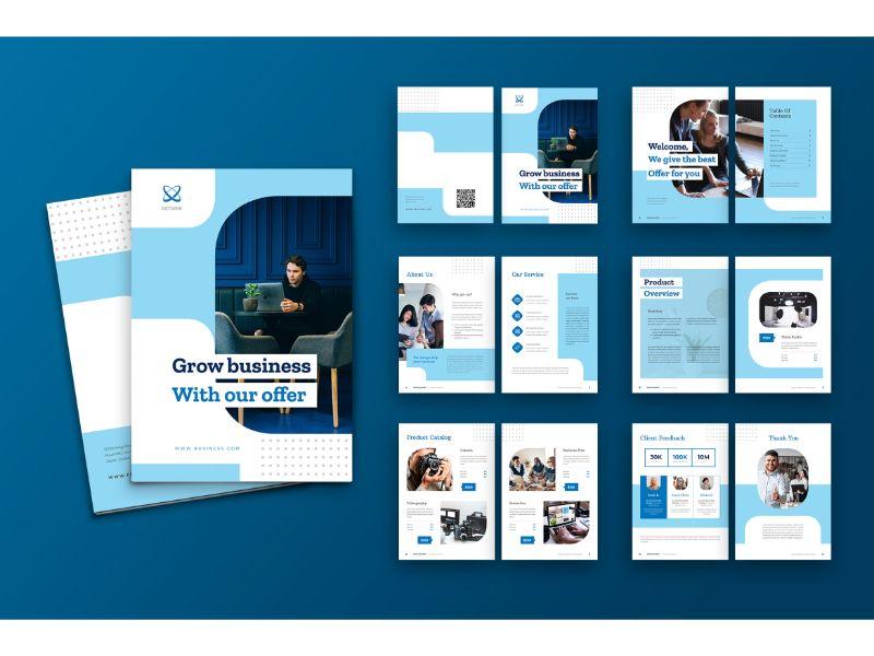 """""""Brochure 1 Grow Business"""" 企业设计模板 #159110"""