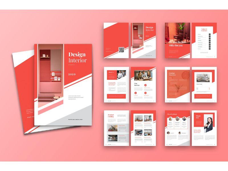 """Brochure 2 Design Interior"" 企业设计模板 #159111"