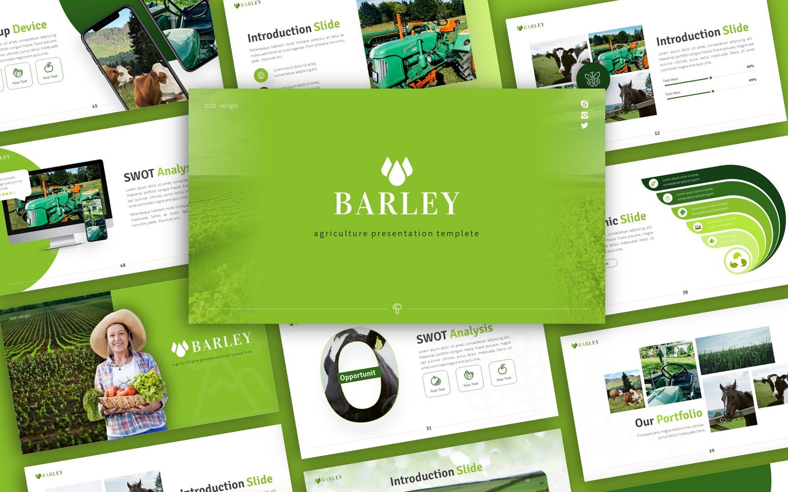 "Plantilla PowerPoint ""Barley Agriculture Presentation"" #159134"