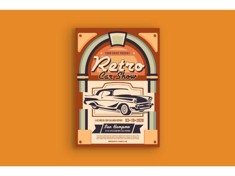 """Poster 1 Retro Car Show"" 企业设计模板 #159114"