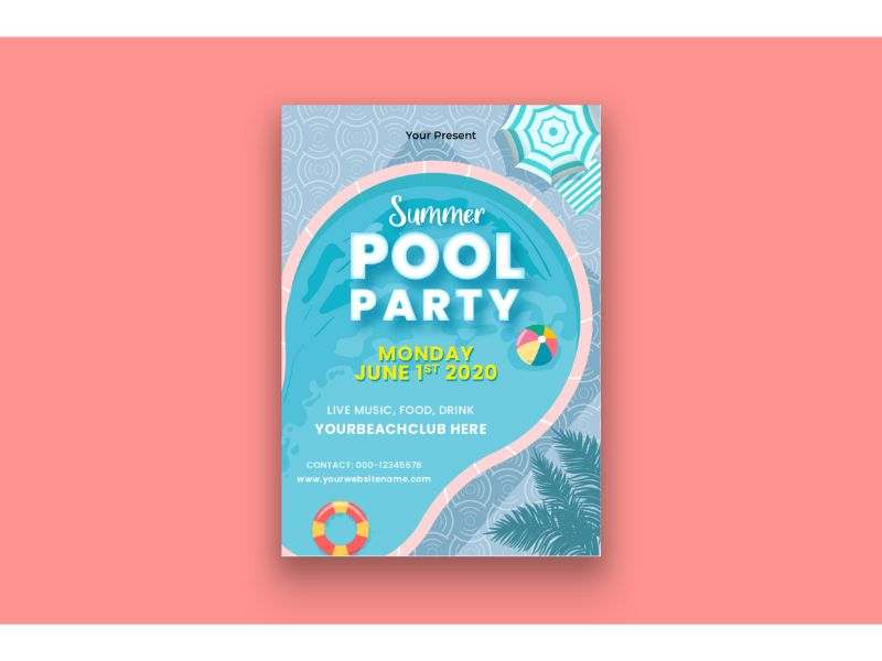 """""""Poster Summer Pool Party"""" 企业设计模板 #159120"""