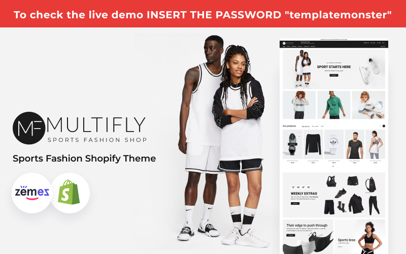 Reszponzív Multilfy Sports Fashion Store Shopify sablon 159172