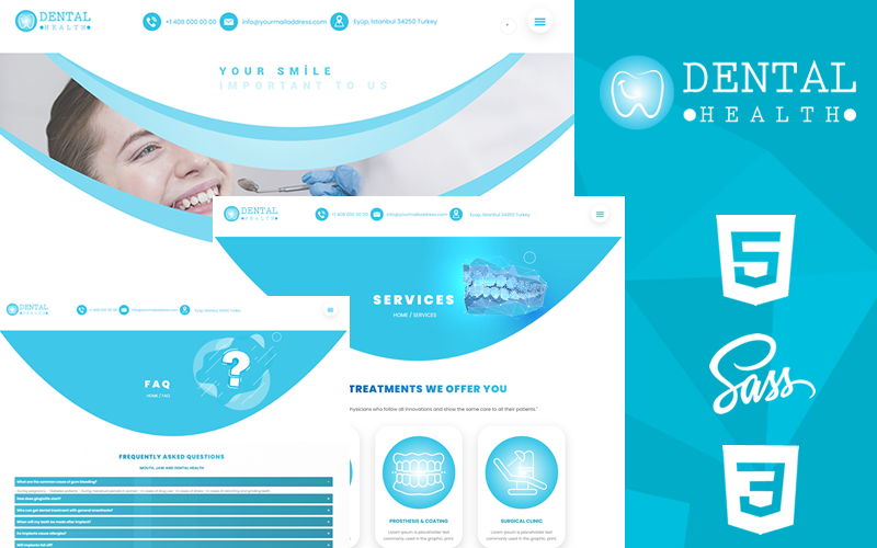 """Dental Health Creative Responsive HTML5 & CSS3 Theme"" 响应式网页模板 #159342"
