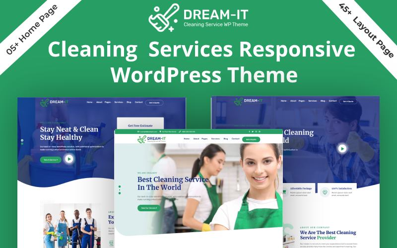 """DreamIT- Cleaning Service"" Responsive WordPress thema №159347"