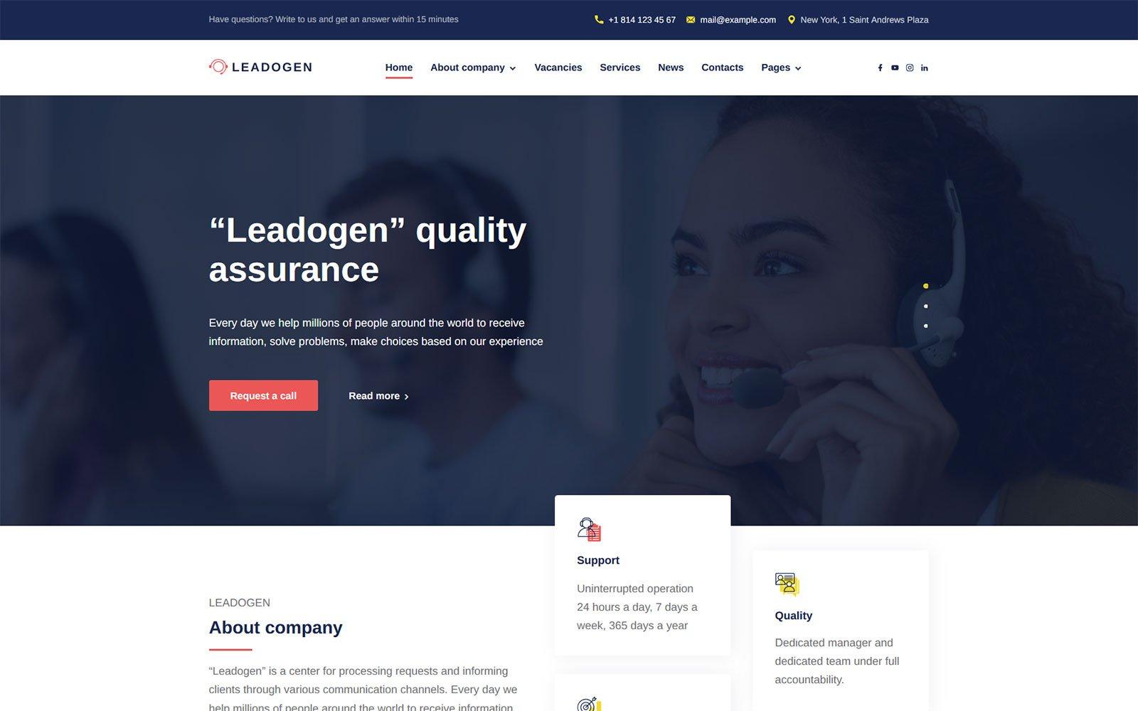 """Leadogen - Marketing, SEO and Call Center Lead Generation WordPress Theme"" WordPress thema №159345"