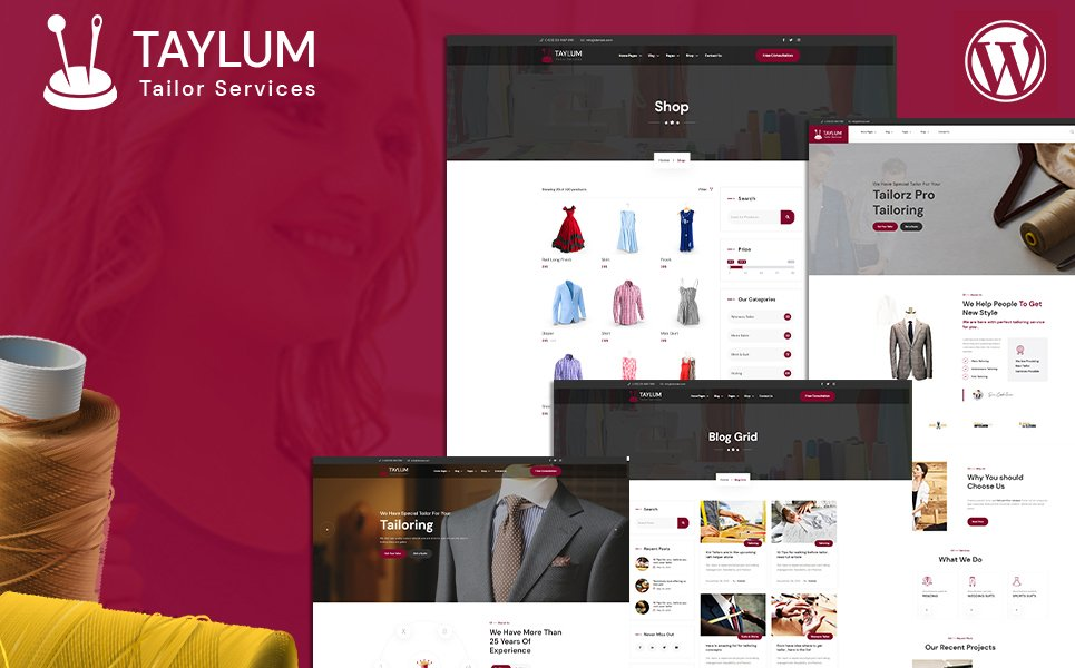 """Taylum Stylish Custom Clothing Tailor"" - адаптивний WordPress шаблон №159340"