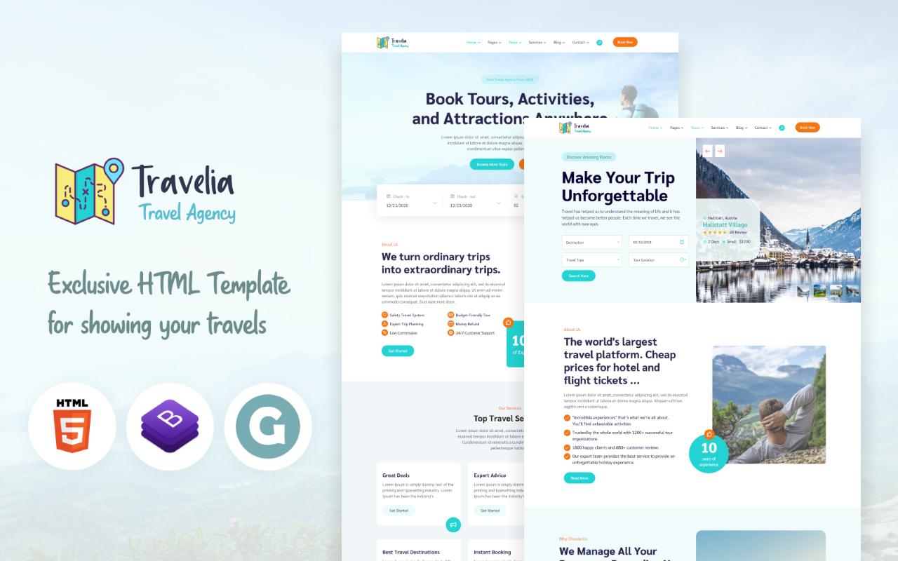 """Travelia - Tour & Travel Agency"" 响应式网页模板 #159344"