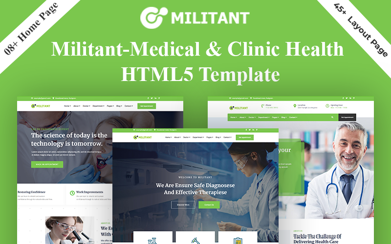 """Militant - Medical & Clinic Health HTML5"" 响应式网页模板 #159691"