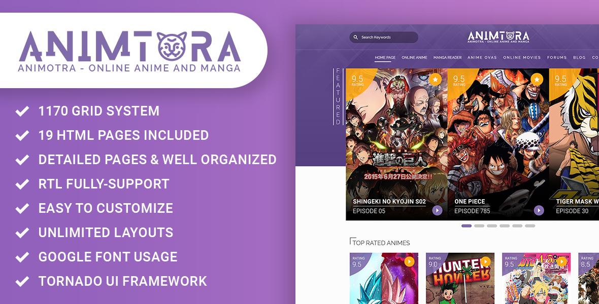 """Animotra - Online Anime and Manga"" 响应式网页模板 #159989"