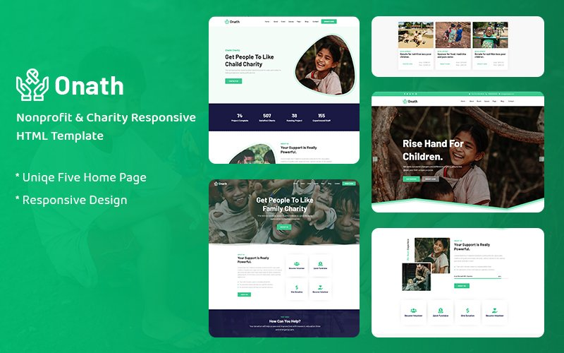 Responsive Onath - Nonprofit Charity Responsive Web Sitesi #159992