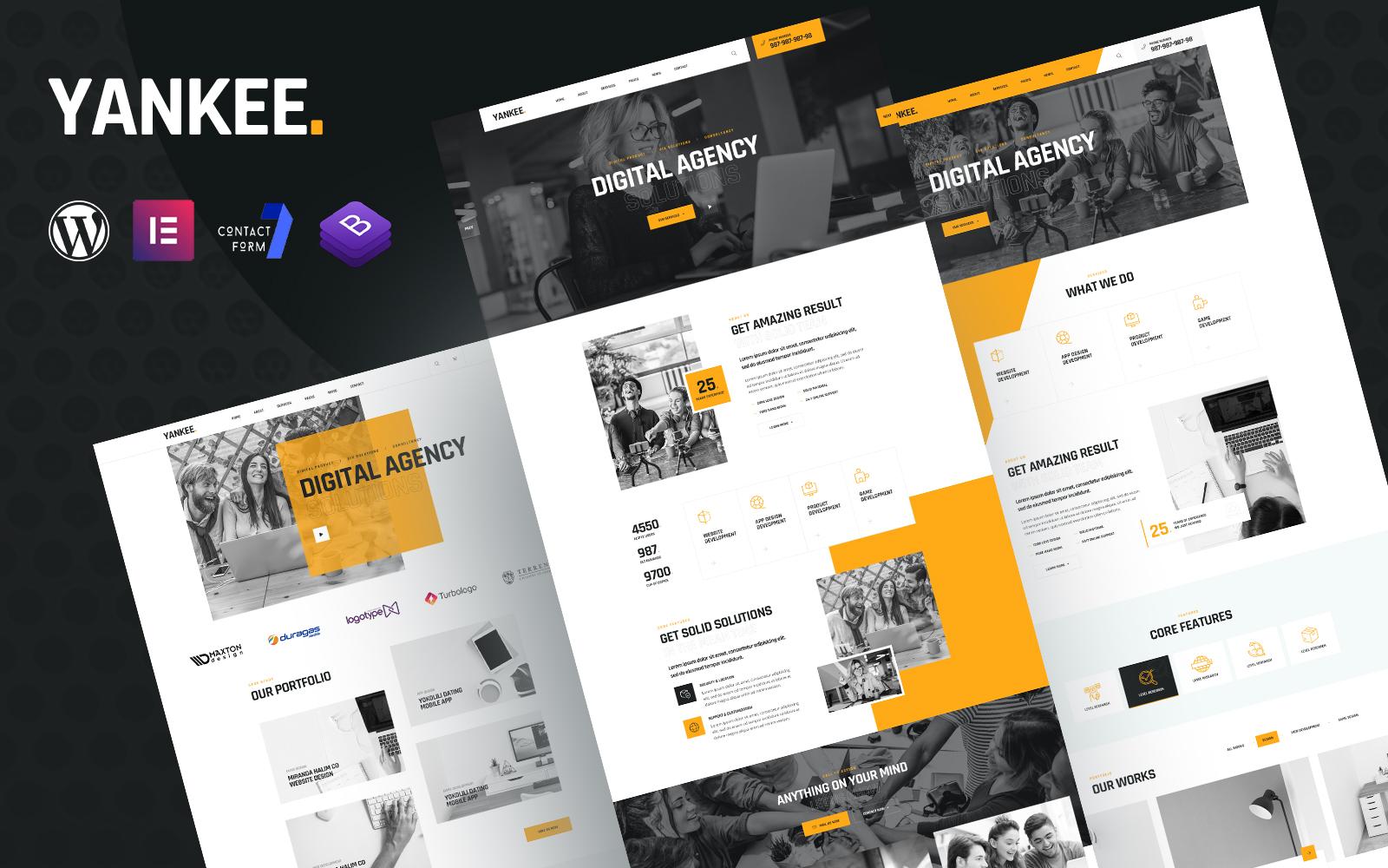 Yankee - Digital Agency Elementor WordPress Theme Tema WordPress №159982