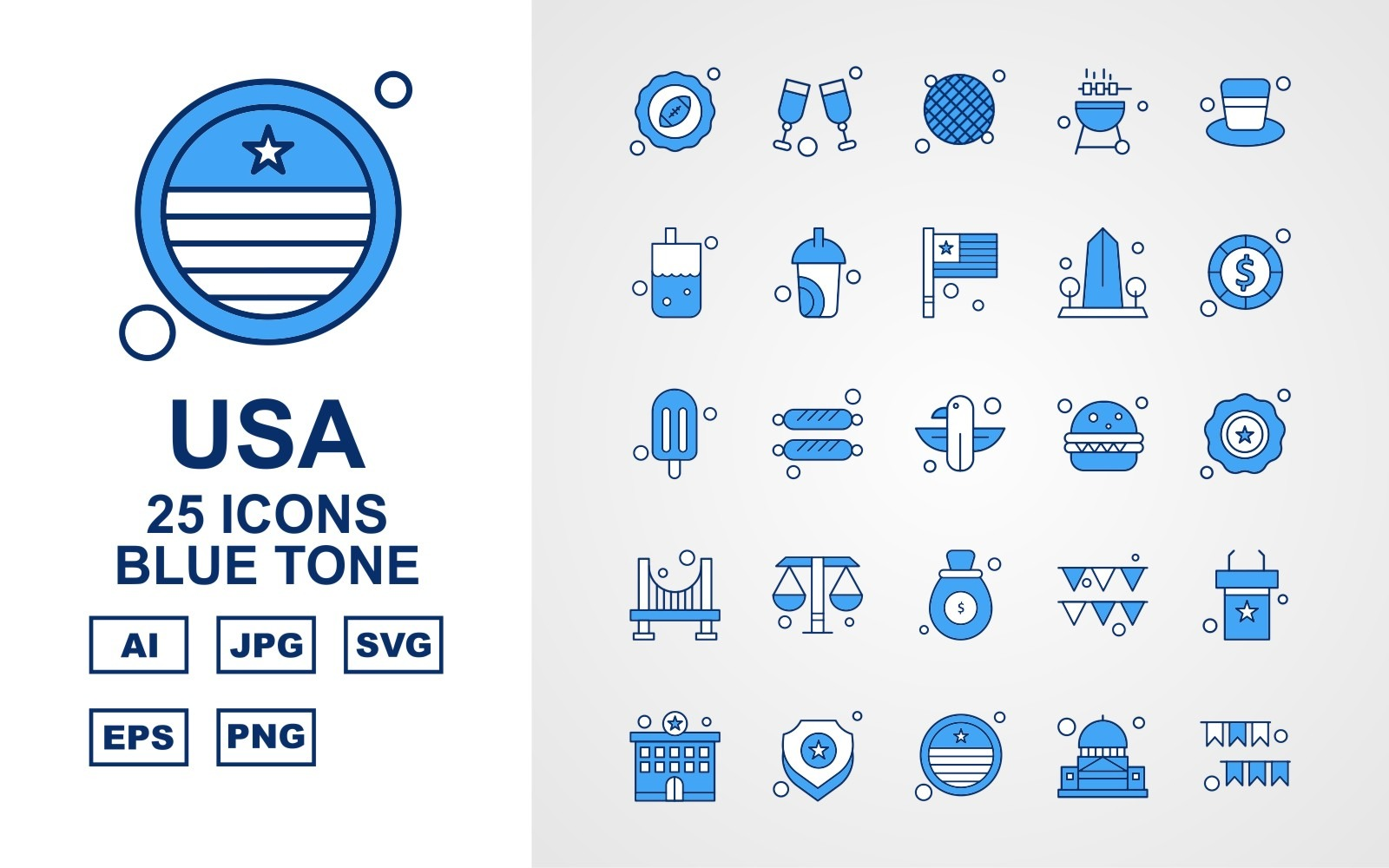 25 Premium USA Blue Tone Icon Pack Iconset Icon Sets 164742