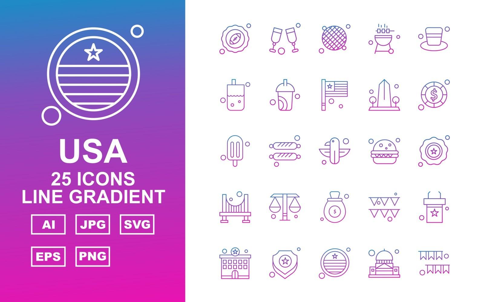 25 Premium USA Line Gradient Icon Pack Icon Sets 164743