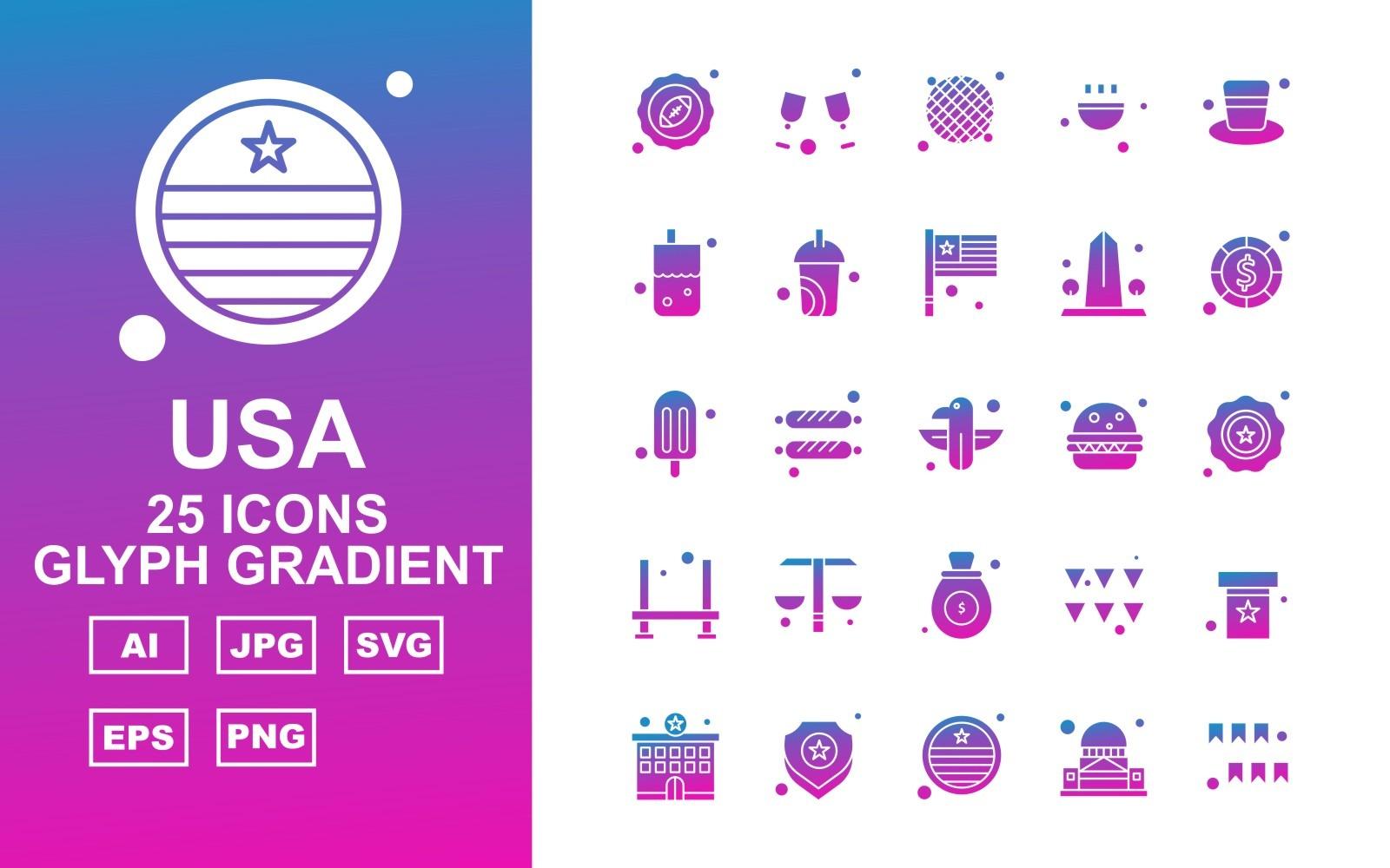 25 Premium USA Glyph Gradient Icon Pack Icon Sets 164744
