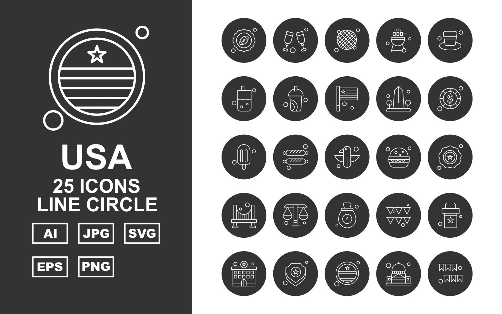 25 Premium USA Line Circle Icon Pack Icon Sets 164745