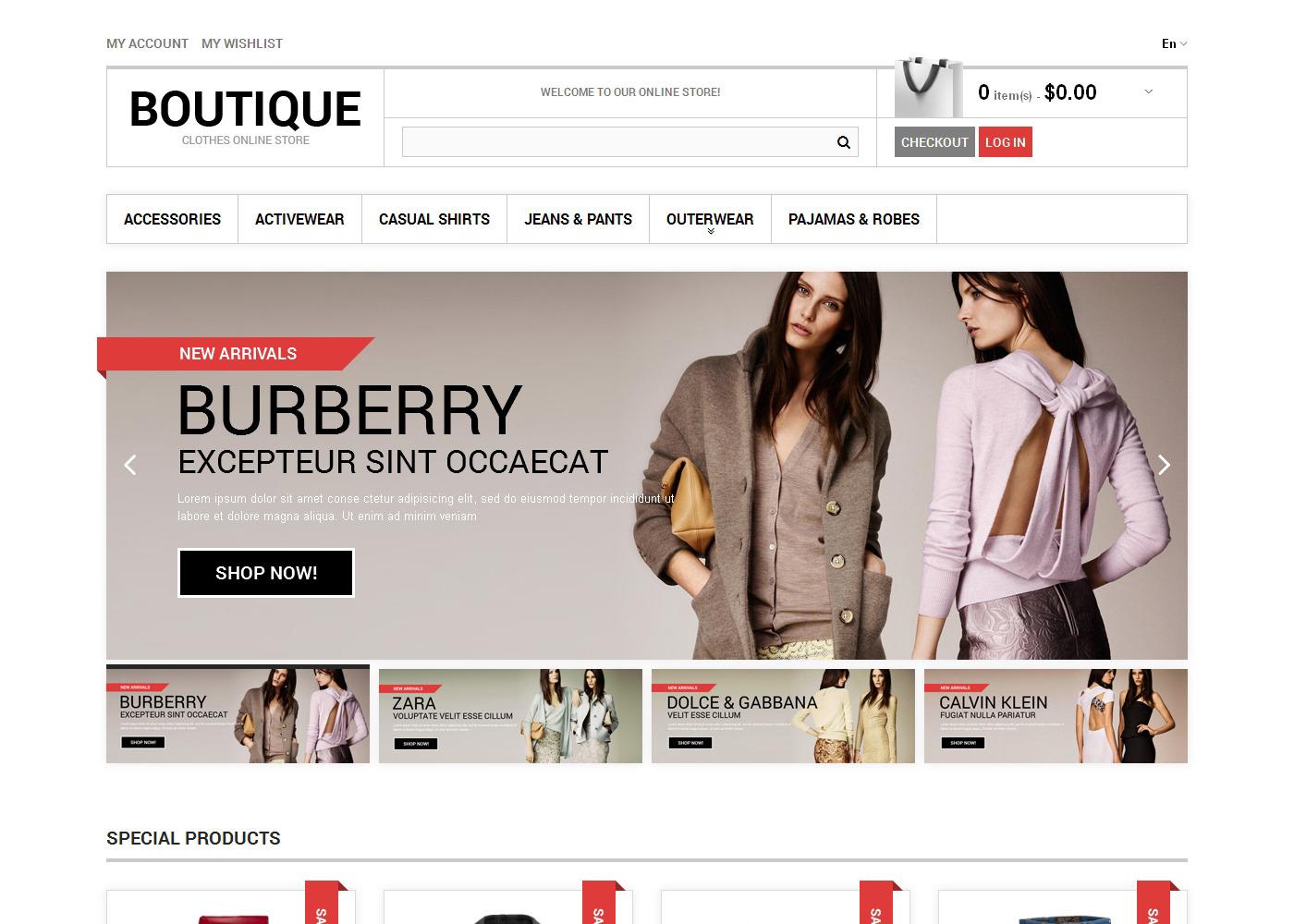 Clothes Boutique Magento Theme Magento 1.9 47455