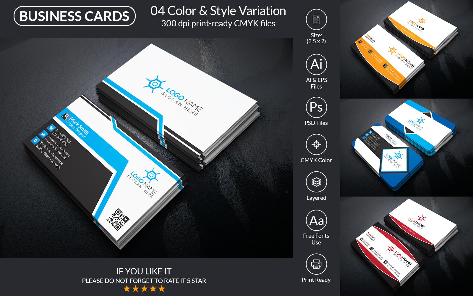 """Unternehmensidentität Vorlage namens """"Business Card Design"""" #160146"""