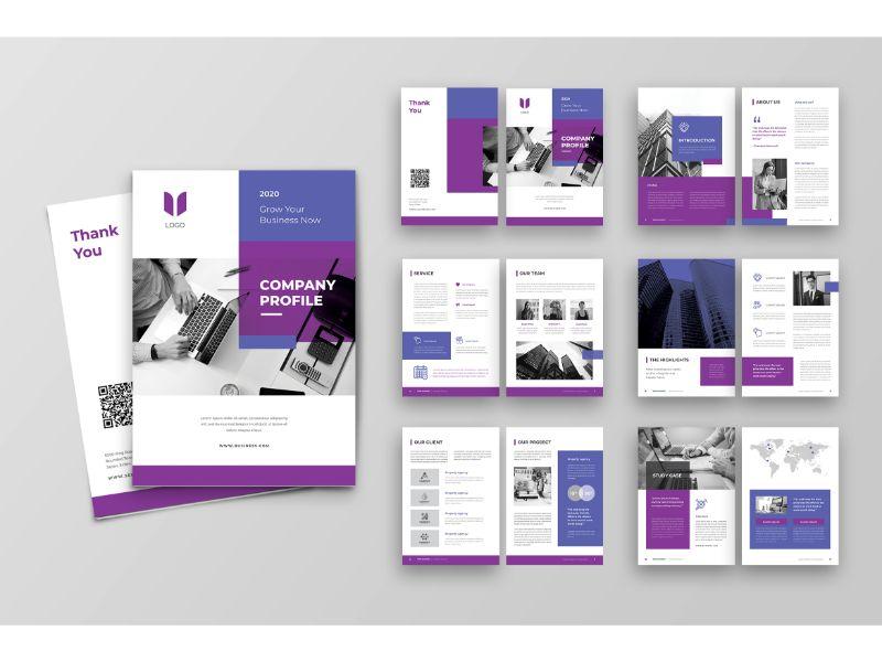 """Unternehmensidentität Vorlage namens """"CP 4 White & Purple"""" #160153"""