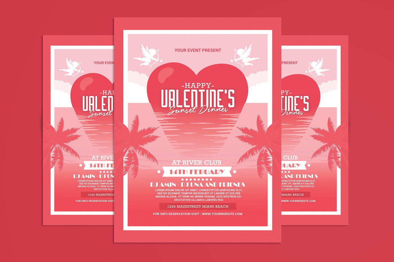 """Unternehmensidentität Vorlage namens """"Valentine's Day Sunset Dinner Flyer"""" #160154"""