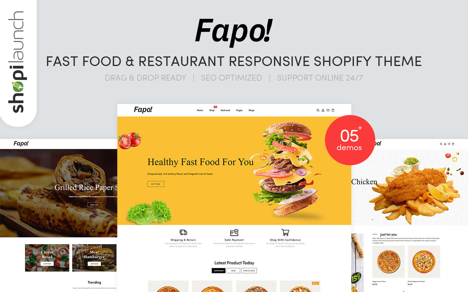 "Tema Shopify ""Fapo - Fast Food & Restaurant Responsive"" #160560"