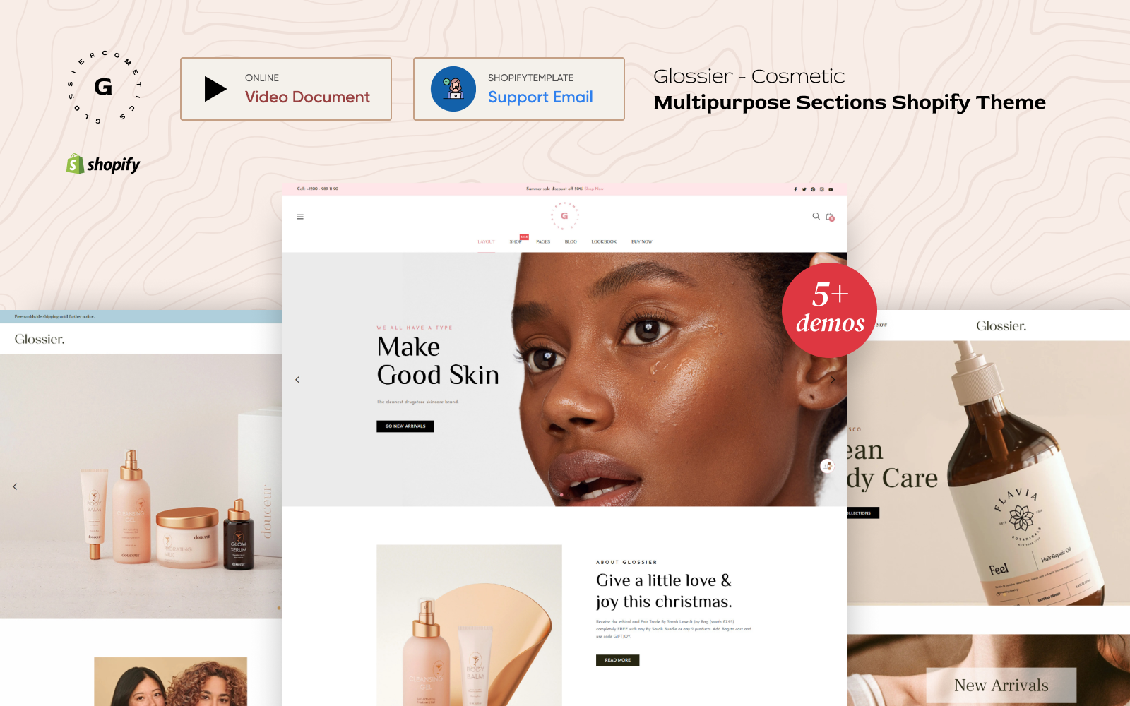 "Template Shopify Responsive #160558 ""Glossier - Multipurpose Sections"""