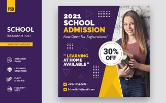 Creative School At Home Design Post Social Media Template