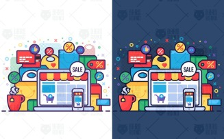 Online Sale In Shop Concept - Vector Image
