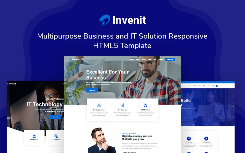 """""""Invenit - Multipurpose Business and IT Solution Responsive"""" Responsive Website template №161038"""
