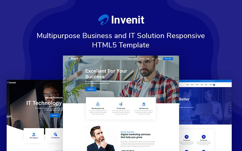 """Invenit - Multipurpose Business and IT Solution Responsive"" 响应式网页模板 #161038"