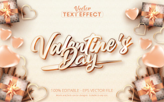Valentine's Day Rose Gold Text Effect - Vector Image