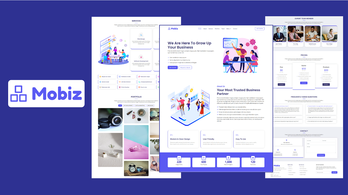 Mobiz - Bootstrap 5 Multipurpose Business Landing Page Template