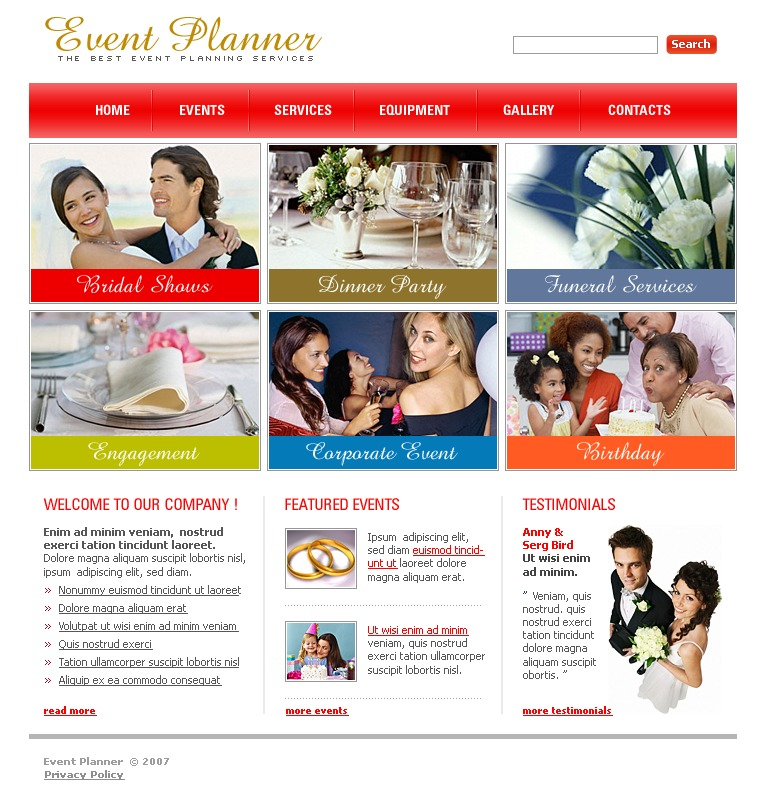 event planner website template 16251. Black Bedroom Furniture Sets. Home Design Ideas