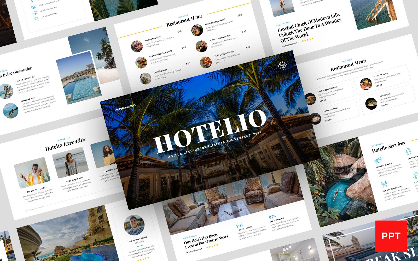Hotelio - Hotel & Restaurant Presentation PowerPoint template