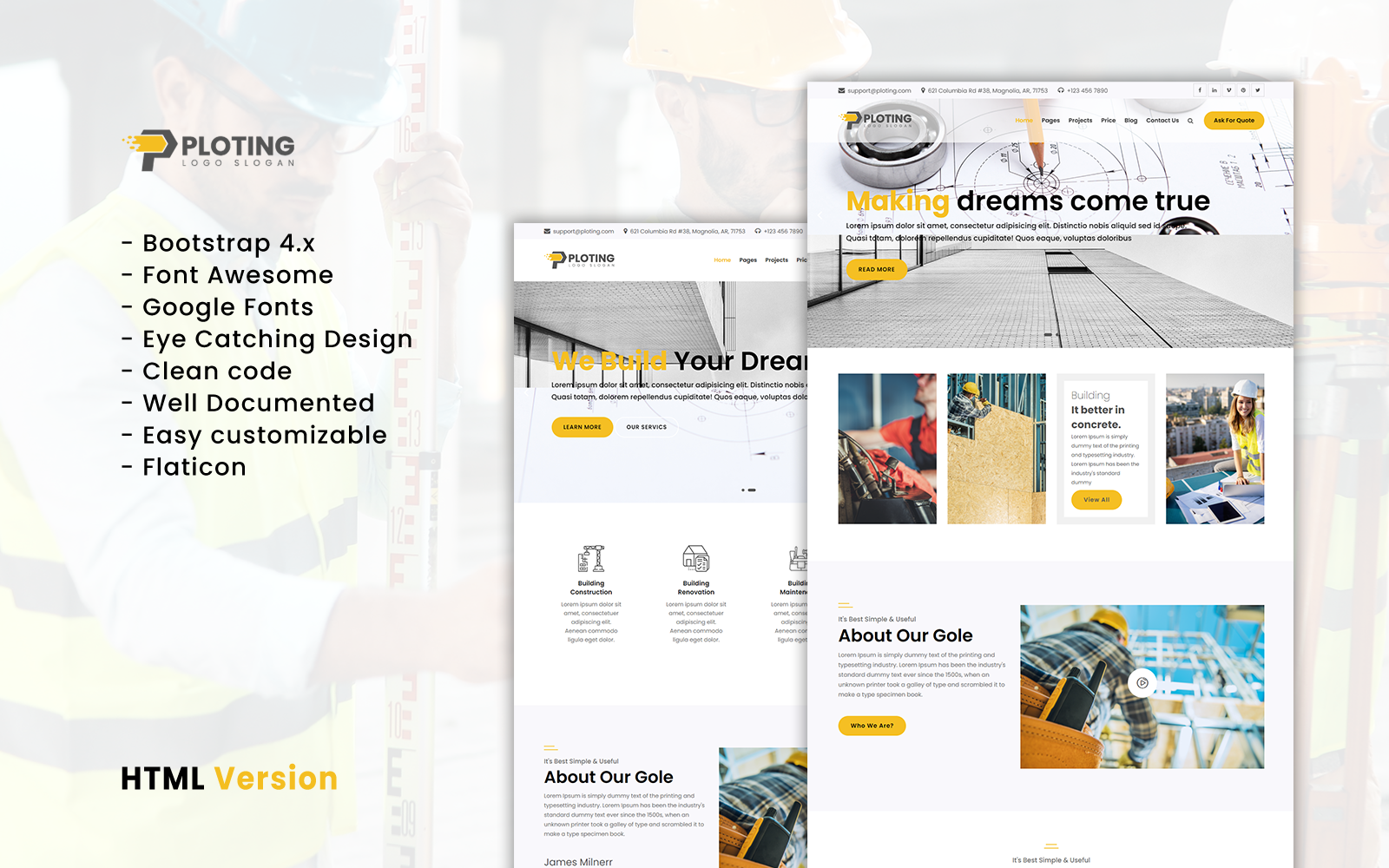 """""""Ploting Construction & Architecture Company Responsive Multipage Website Template"""" 响应式网页模板 #162395"""