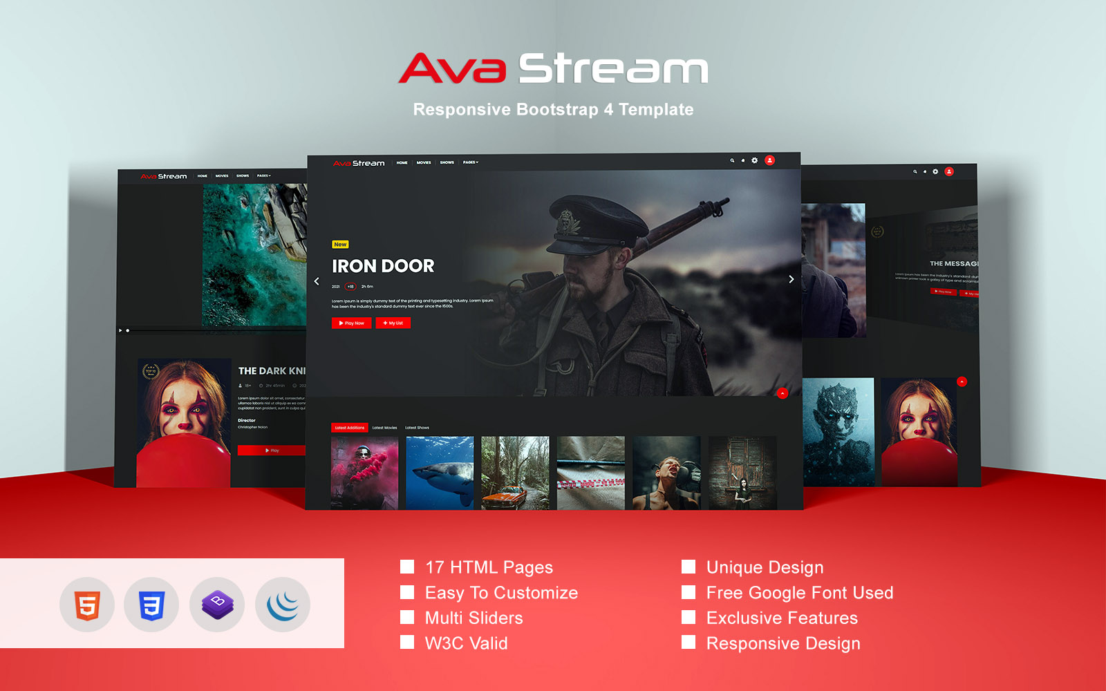 """Ava Stream - Responsive Bootstrap 4"" 响应式网页模板 #162927"