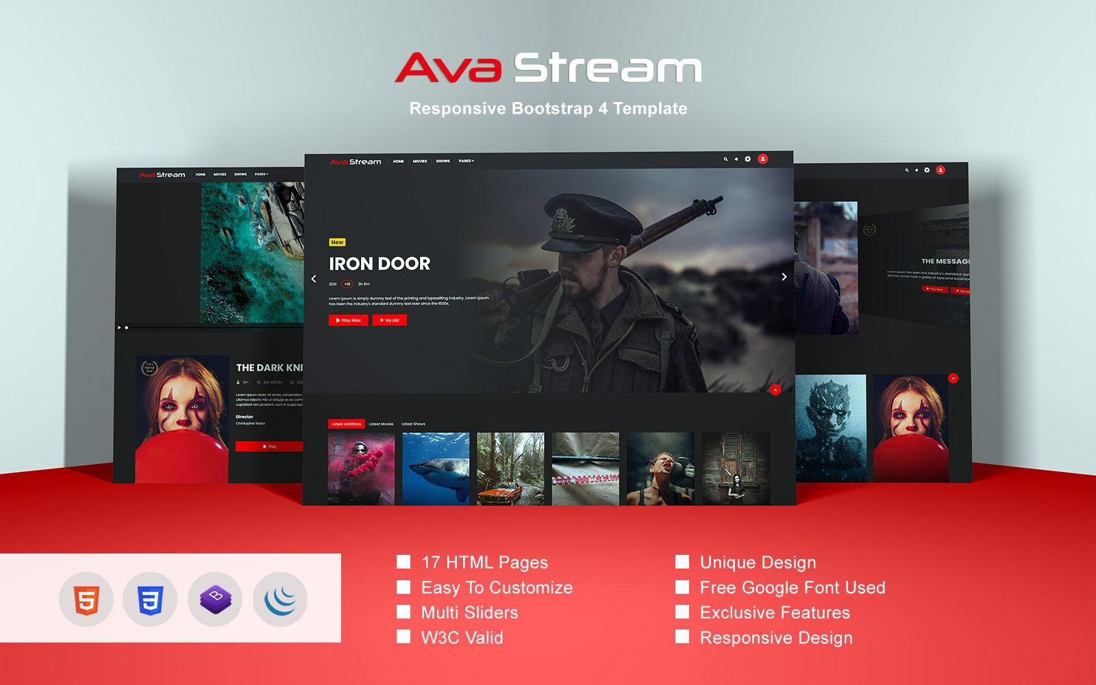 Responsivt Ava Stream - Responsive Bootstrap 4 Hemsidemall #162927