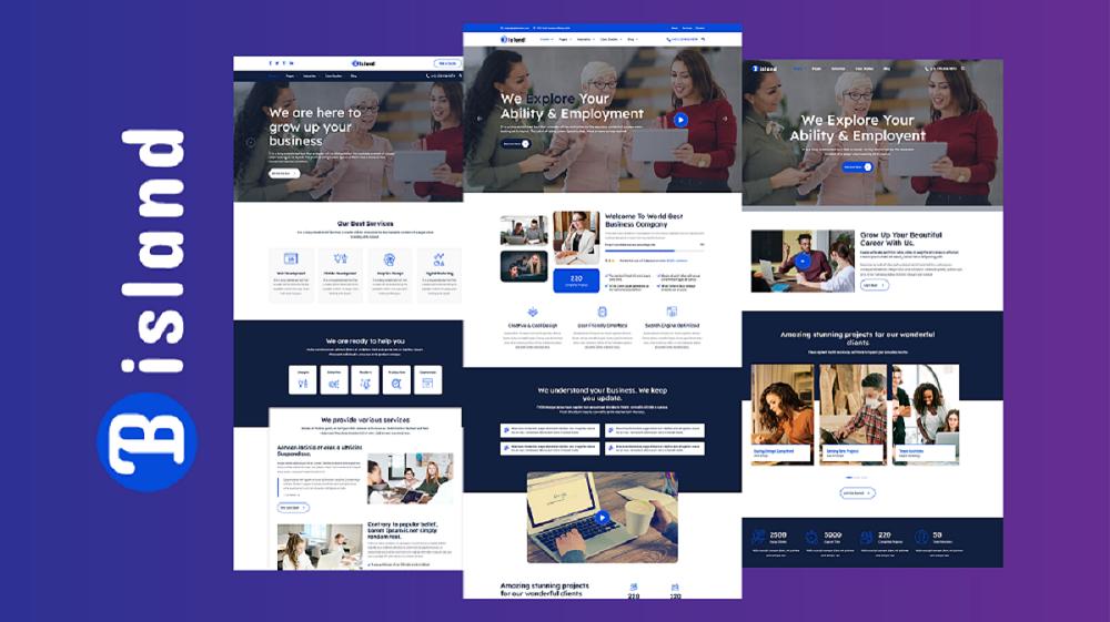 Responsivt Bisland - Corporate Business HTML5 Website Template Hemsidemall #162929