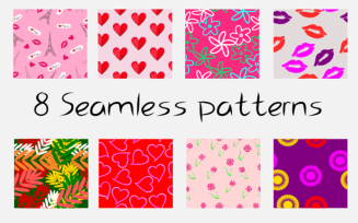 8 Vector Seamless for Valentine's Day Pattern