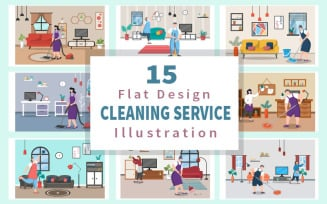 15 Home Cleaning Service Flat Design - Illustration