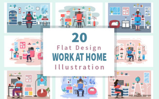 20 Work From Home Flat Design - Illustration